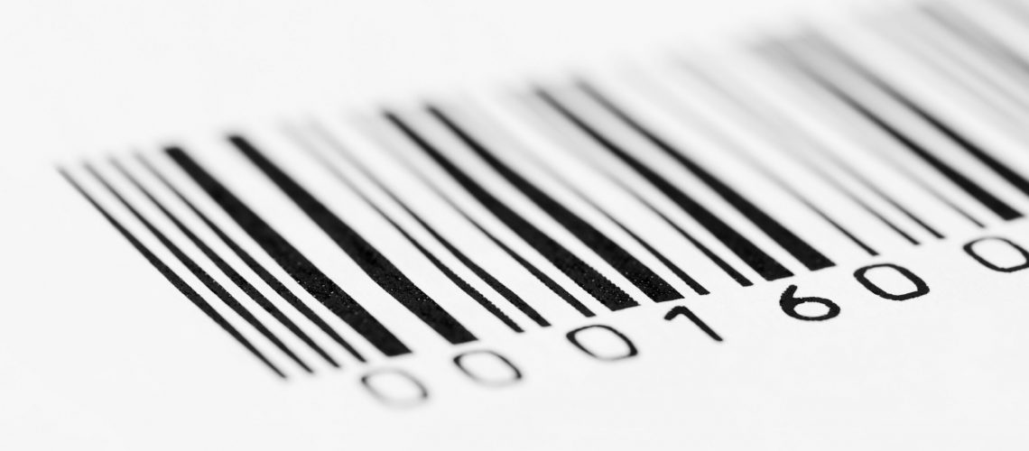 Close-up photo of a barcode, shallow depth of field